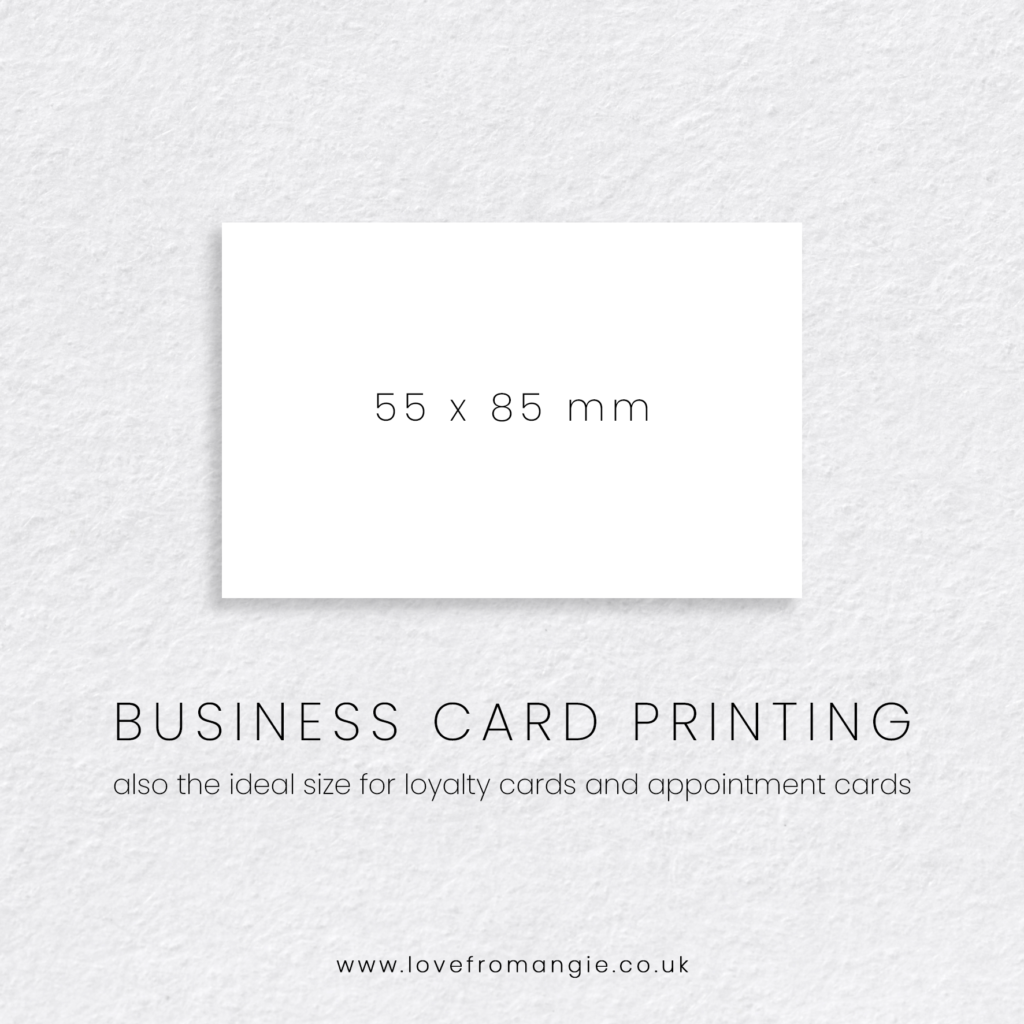 Business Card Printing, Loyalty Card Printing and Appointment card printing, 55 x 85 mm.