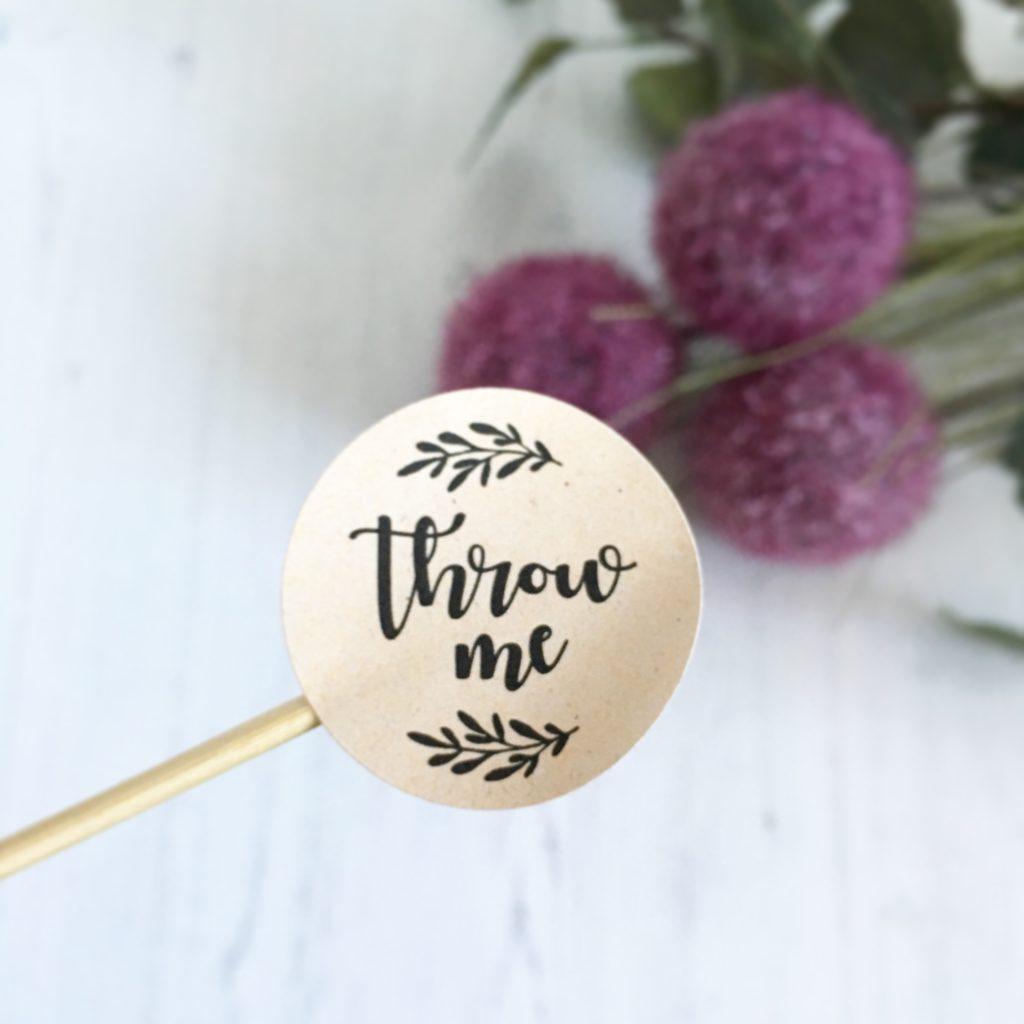 Throw Me, Wedding Confetti Stickers, 37mm Kraft Matte Finish.