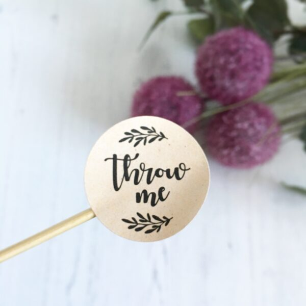 Throw Me, Wedding Confetti Stickers, 37mm Kraft Matte Finish.