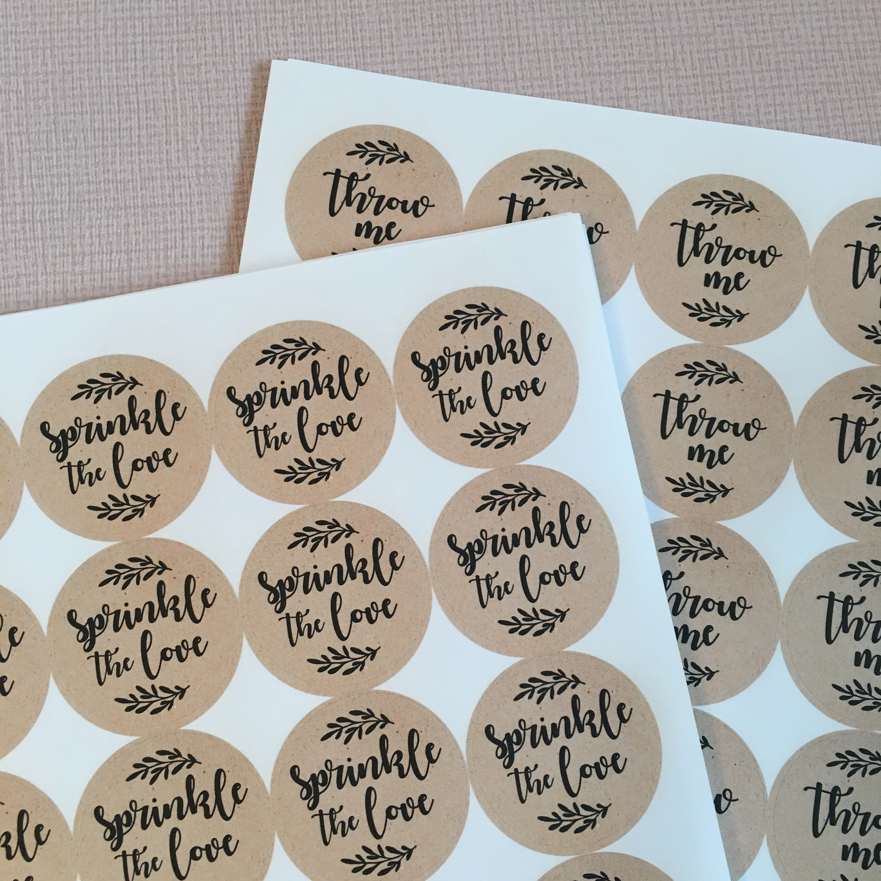 Sprinkle The Love and Throw Me Wedding Stickers, 37mm Kraft