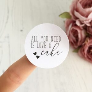All You Need Is Love And Cake, 37mm Wedding Stickers
