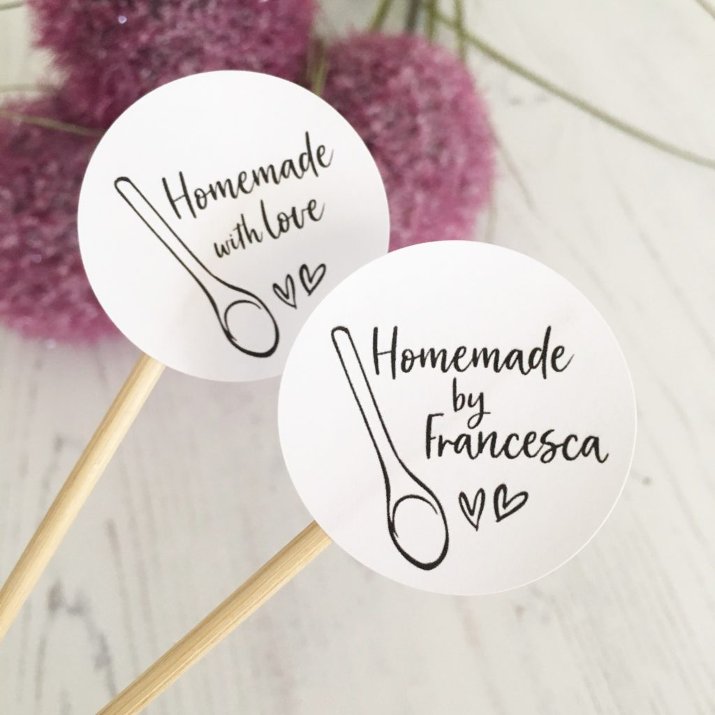 Homemade With Love, Personalised Baking Stickers. 37mm Matte White.