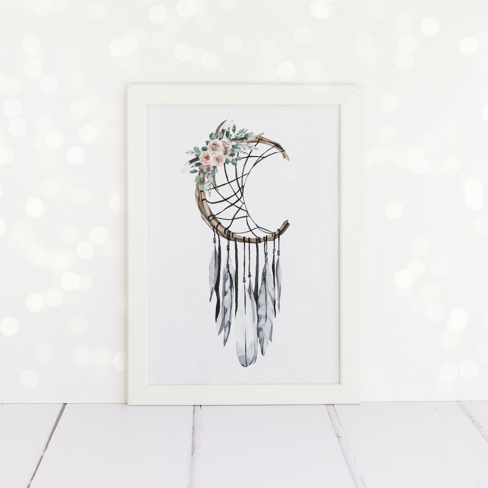 Moon Dreamcatcher A4 Print.