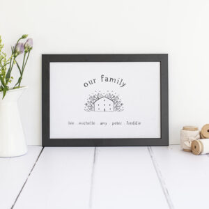 Personalised Our Family Tree Print in A4.