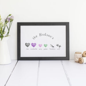 Personalised Family Tree Print in A4.