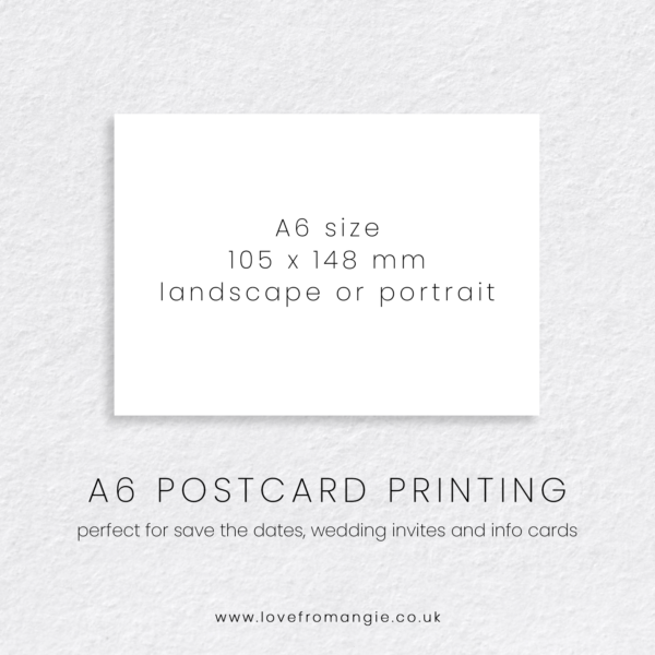 A6 Postcard Print 105 x 148 mm, perfect for wedding save the dates, invites and information cards