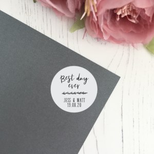 Best Day Ever, Personalised Wedding Stickers in 37mm Matte Finish