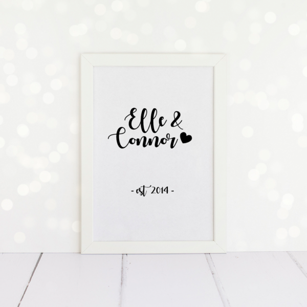 Personalised couples name and date print for a wedding or anniversary