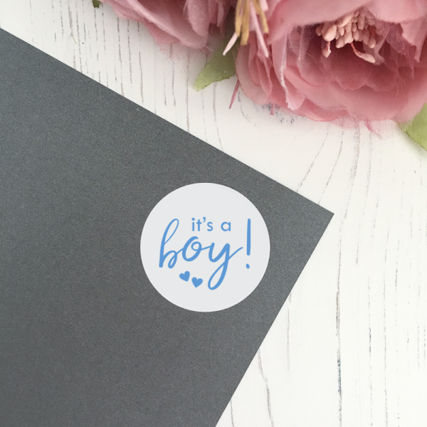 It's A Boy! Baby shower announcement stickers in 37mm matte finish