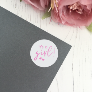 It's A Girl! Baby shower announcement stickers in 37mm matte finish