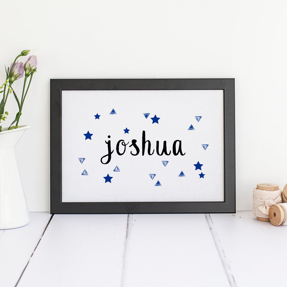 Personalised Stars and Triangles Name Print, Boys Nursery Decor.