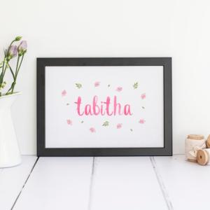Personalised Floral Name Print, Girls Nursery Decor.