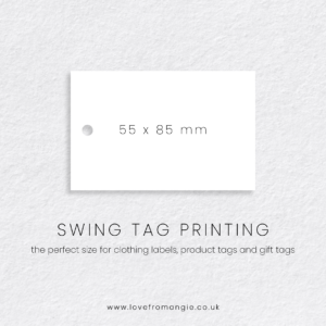 Swing Tag Printing perfect for clothing labels, product tags and gift tags.