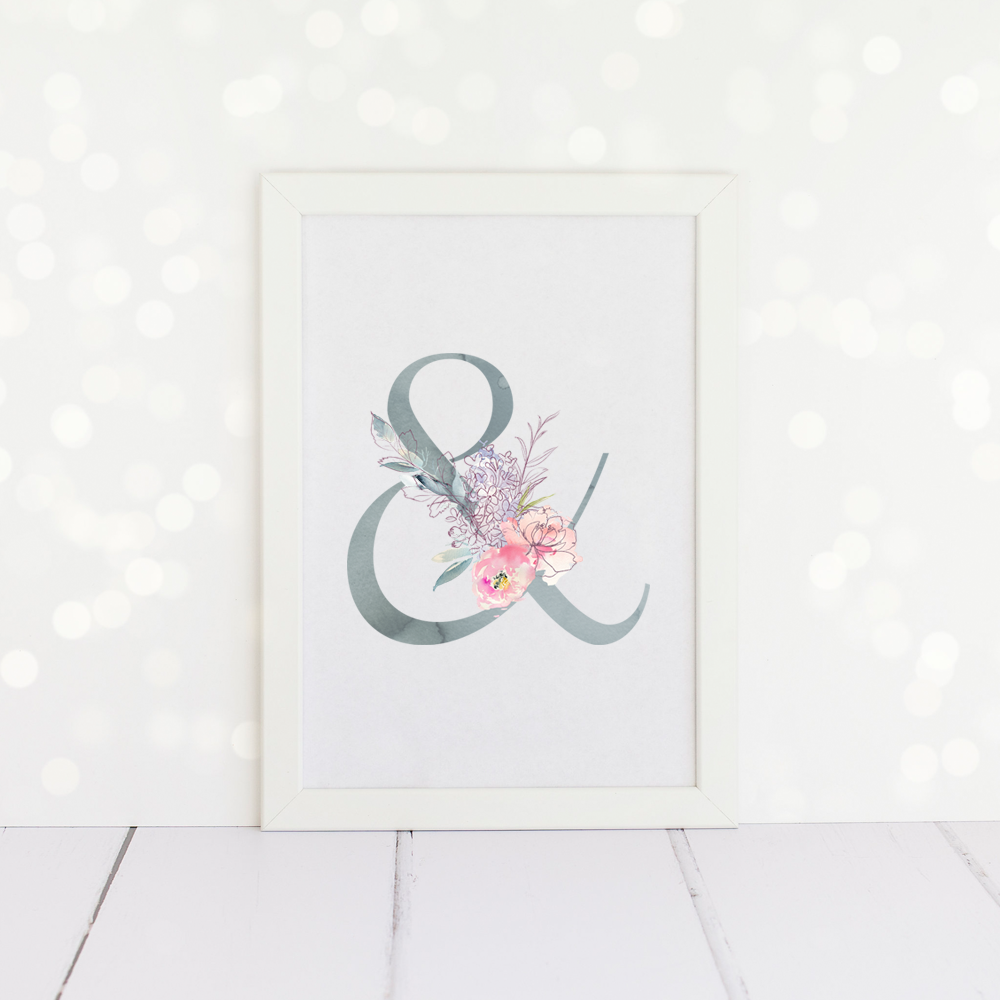 Watercolour Floral Ampersands Print in duck egg blue and pink.