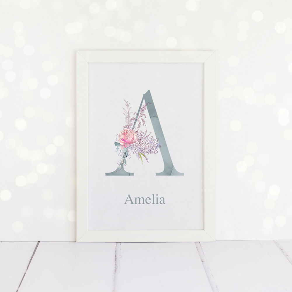 Personalised Watercolour Floral Initial Print in duck egg blue and pink.