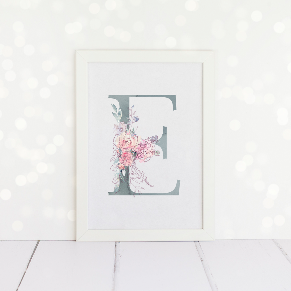 Watercolour Floral Initial Print in duck egg blue and pink.
