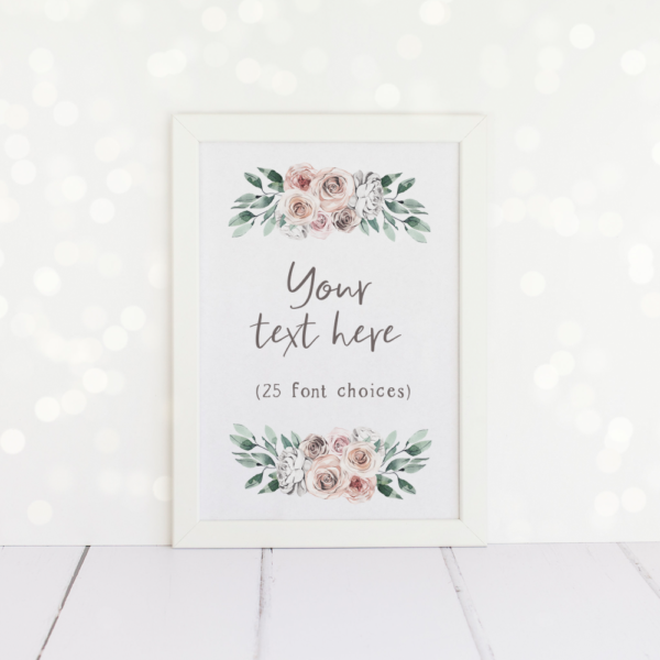 Any text here, custom A4 print with a floral design