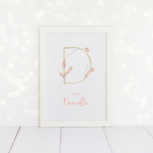 Personalised gold peach initial A4 print.